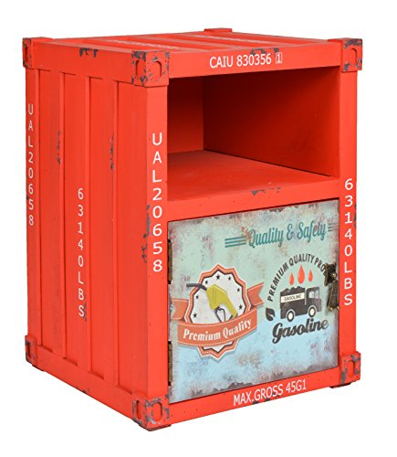 ts-ideen Kommode Schrank Regal Schlafzimmer Container in Rot Industrie Design Shabby Optik Vintage 35 x 50 cm