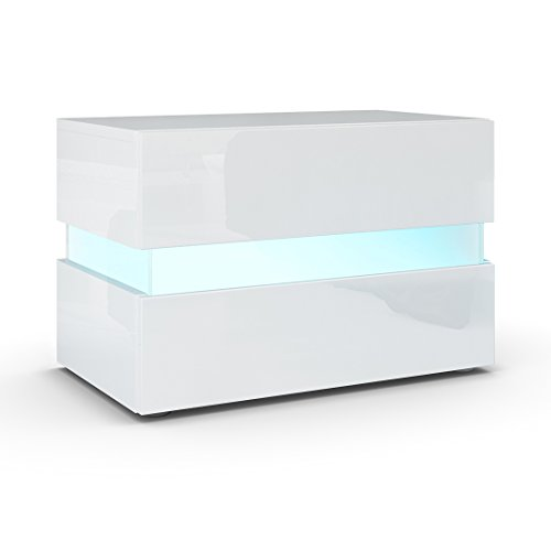 Nachttisch wei hochglanz weiss enorm nachttisch weis for Design couchtisch district highgloss mit led beleuchtung