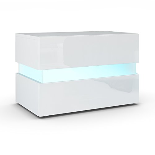 Nachtkonsole Flow In Weiß Matt / Weiß Hochglanz Inkl. LED Beleuchtung