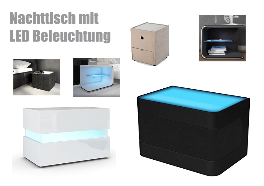 nachttisch mit beleuchtung. Black Bedroom Furniture Sets. Home Design Ideas